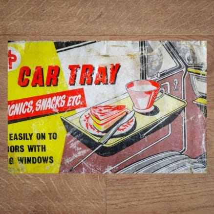 Rare Vintage Original 1960s HP CAR-TRAY - Door Mounted Picknick Table classentials motoring essentials accessory