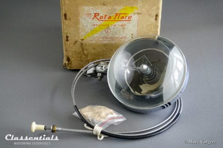 The Rotaflare swiveling fog spot search lamp light for British saloons rally sports classic cars brand new in box MG Triumph Bristol Jaguar Austin Healey Classentiuals vintage motoring accessory