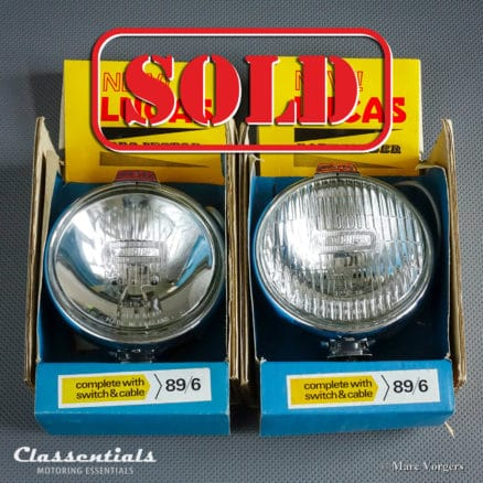 Vintage original Lucas LR6 'Projector' / FT6 'Pathfinder' 1950s - 1960s Sealed Beam Spot / Fog Driving Lamp Set - Austin Healey, MG, Jaguar, Rolls-Royce, Triumph and Others - ULTRA RARE New Old Stock classic car oldtimer classentials motoring essentials accessory accessories