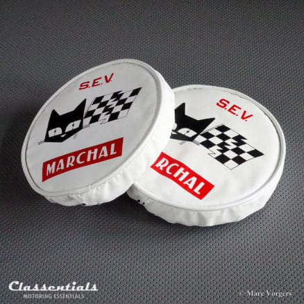 VERY RARE Factory Original1970s 150mm Lamp Covers for 130mm 1960s S.E.V. Marchal 672 / 682 and Other Models (PAIR) classentials motoring essentials