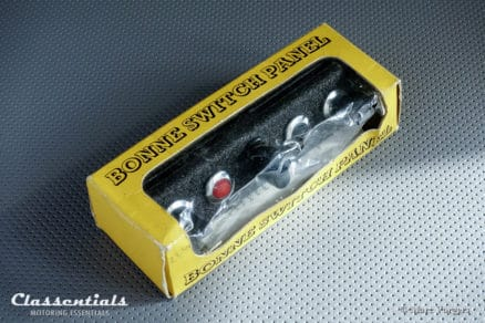 Vintage Original BONNE 1960s Metal Dashboard Switch Panel with Two Switches, Lamps and 6-12 Volt Socket Classentials Motoring Essentials classic car oldtimer accessory accessories