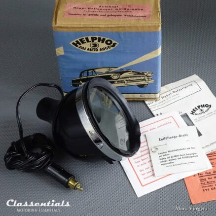 """RARE Vintage Original 1950s / 1960s Black HELPHOS Search Lamp """"Das Auto Auge"""" With Windscreen Suction Mount new in box"""