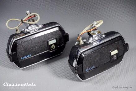 """Vintage Original Lucas FT8 """"Square-8"""" 1960s - 1970s Wide-Range Fog Lamps (PAIR) - Aston Martin, Jaguar, Jensen, Lotus, Rover, Triumph"""
