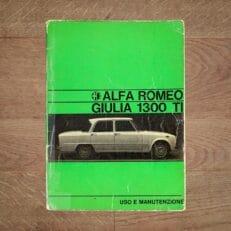Vintage Original Alfa Romeo Giulia 1300 TI User Manual, 9/1969 - Italian language fair condition